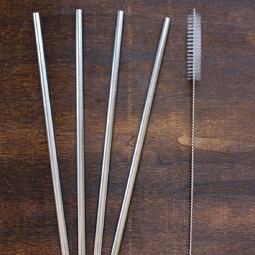 Stainless Steel Straight Straws With Cleaning Brush - 4 Pack
