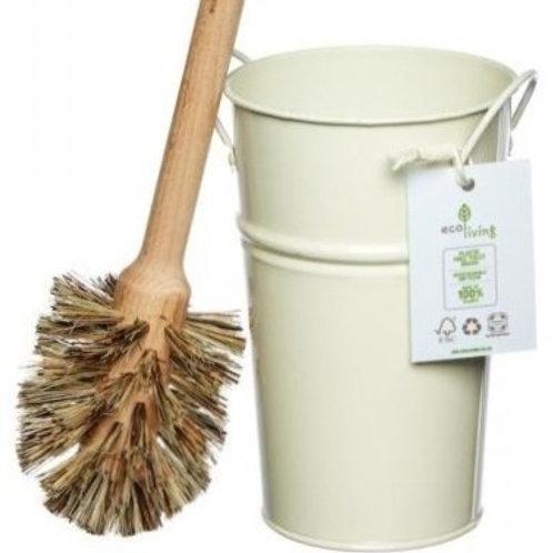 Cream Plastic Free Toilet Brush & Holder Set