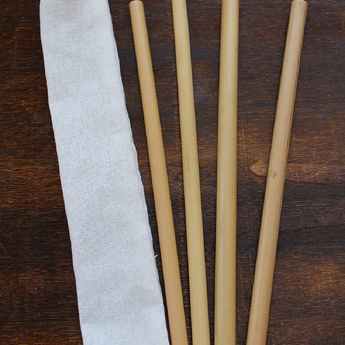 Bamboo Straws 20 cm With Carry Pouch - 4 Pack