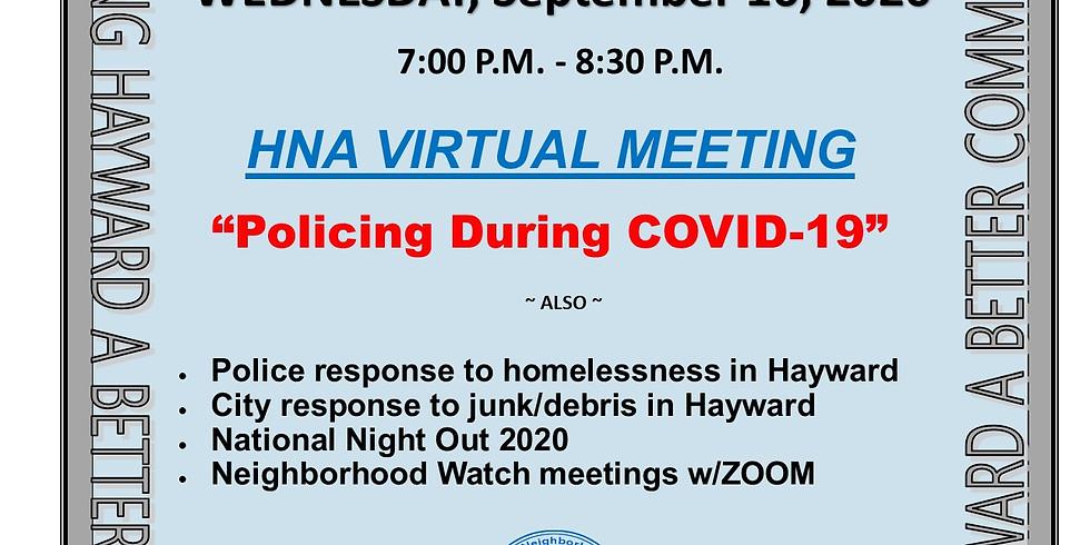 Hayward Neighborhood Alert General Meeting (Virtual)