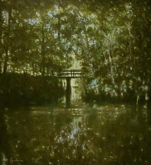 Pont sur l'étang cache