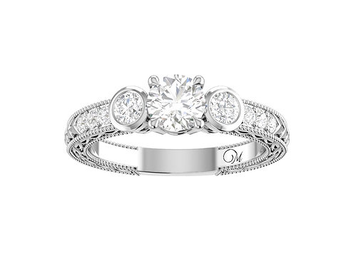 Three Stone Round Brilliant-Cut Diamond Ring - RP0312