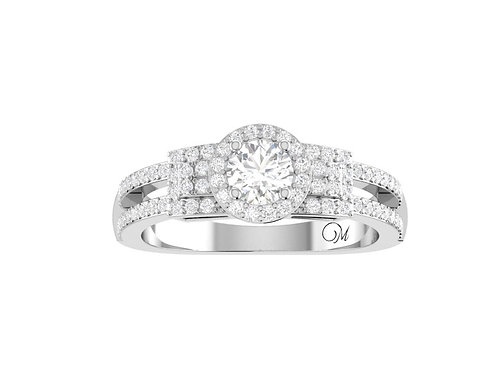 Petite Halo Brilliant-Cut Diamond Ring - RP1359