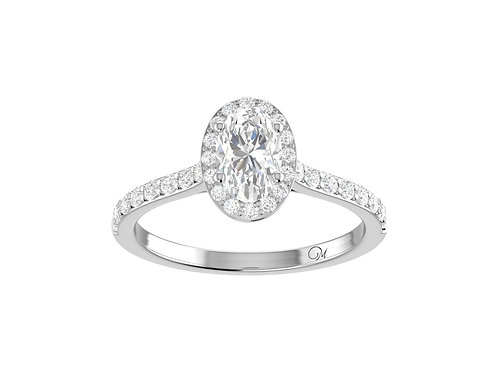 Halo Oval-Cut Diamond Ring - RP2315