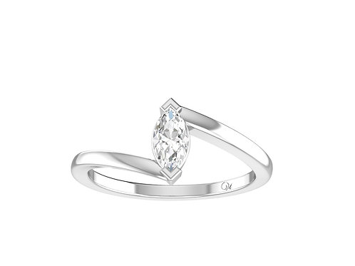 Petite Twisted Marquise-Cut Diamond Ring - RP0513.01
