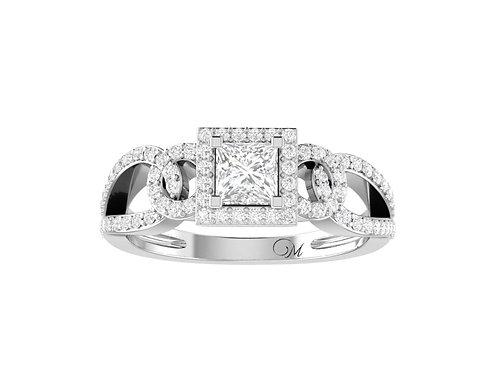 Petite Halo Princess Cut Diamond Ring - RP1344