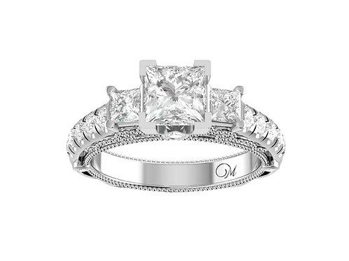 Glorious Three Stone Princess-Cut Diamond Ring - RP1915