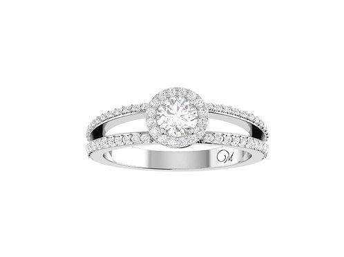 Petite Halo Split Shank Brilliant-Cut Diamond Ring - RP1349