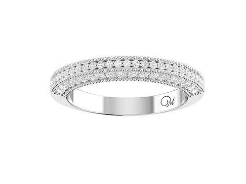 Delicated Beaded Half Eternity Diamond Band - RP0722