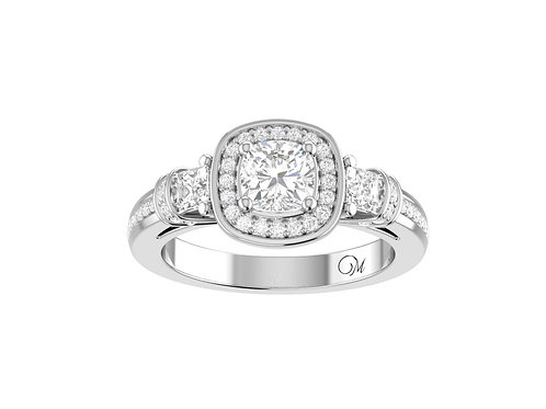Halo Cushion-Cut Diamond Ring - RP0620