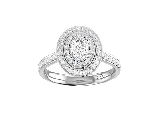 Double Halo Oval-Cut Diamond Ring - RP1088