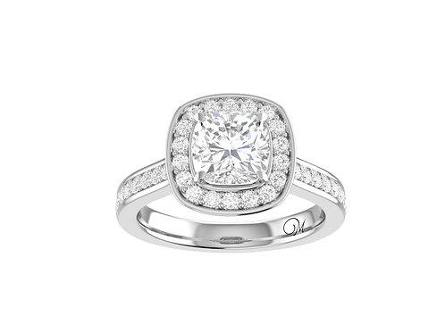 Halo Cushion-Cut Diamond Ring - RP0831