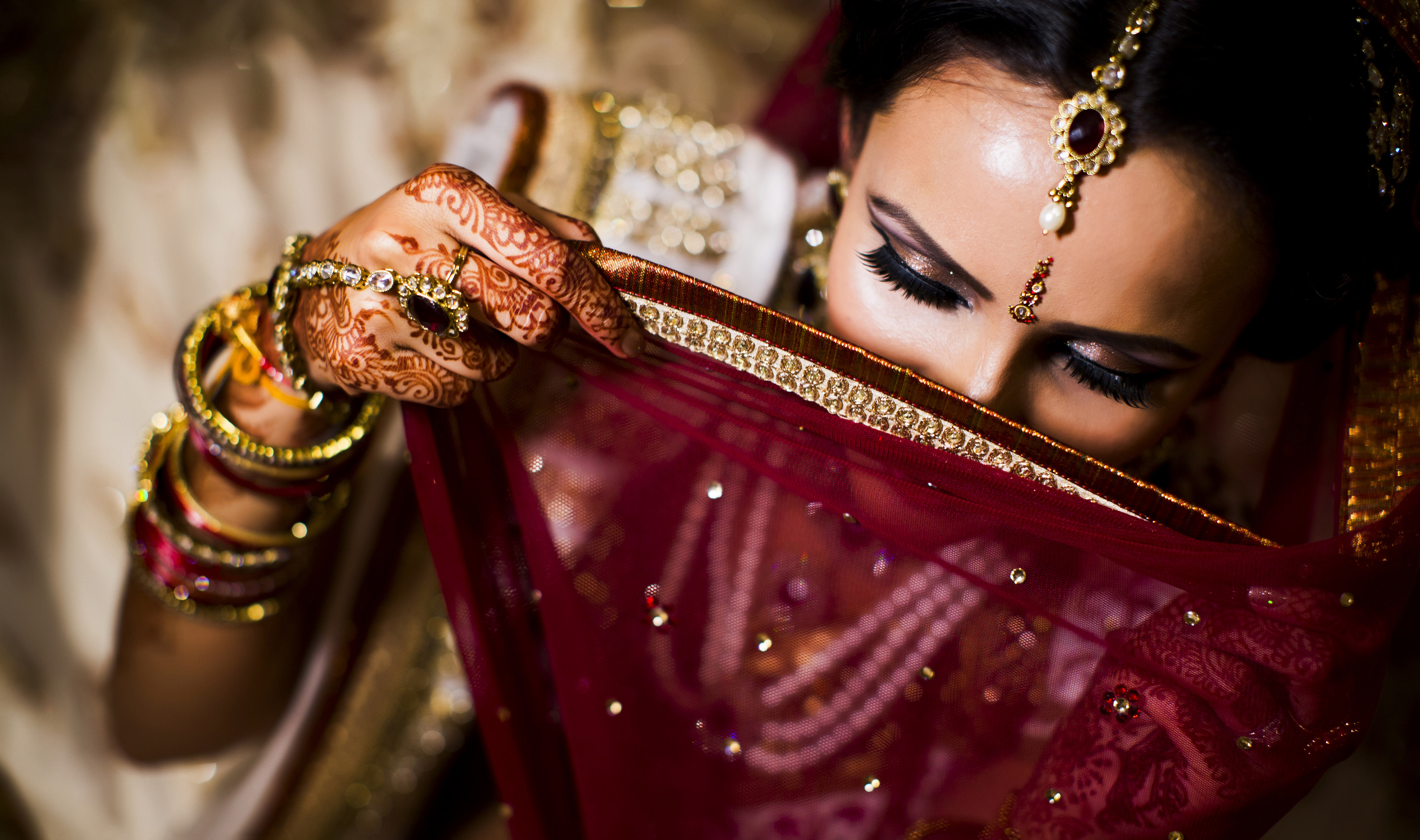 Indian shy bride at her wedding