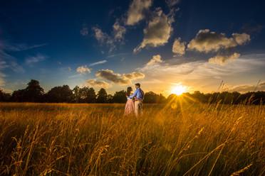 Sunset preshoot wedding