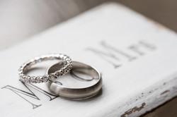 Wedding rings on vintage box