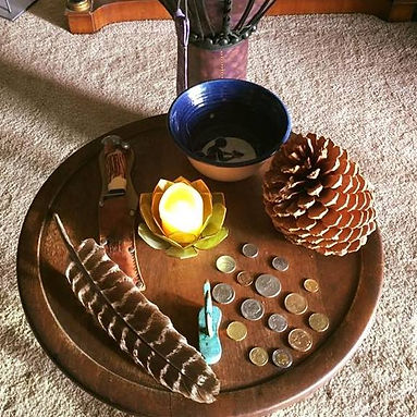 Home Altar featuring coins from around the world, and Four Primary Elements