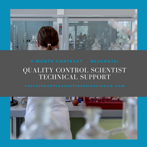 Quality Control Scientist, Technical Support - 3 month contract