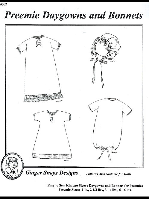 Preemie Daygowns and Bonnets
