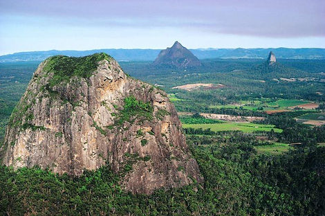 A magestic veiw over the Glass House Mountains
