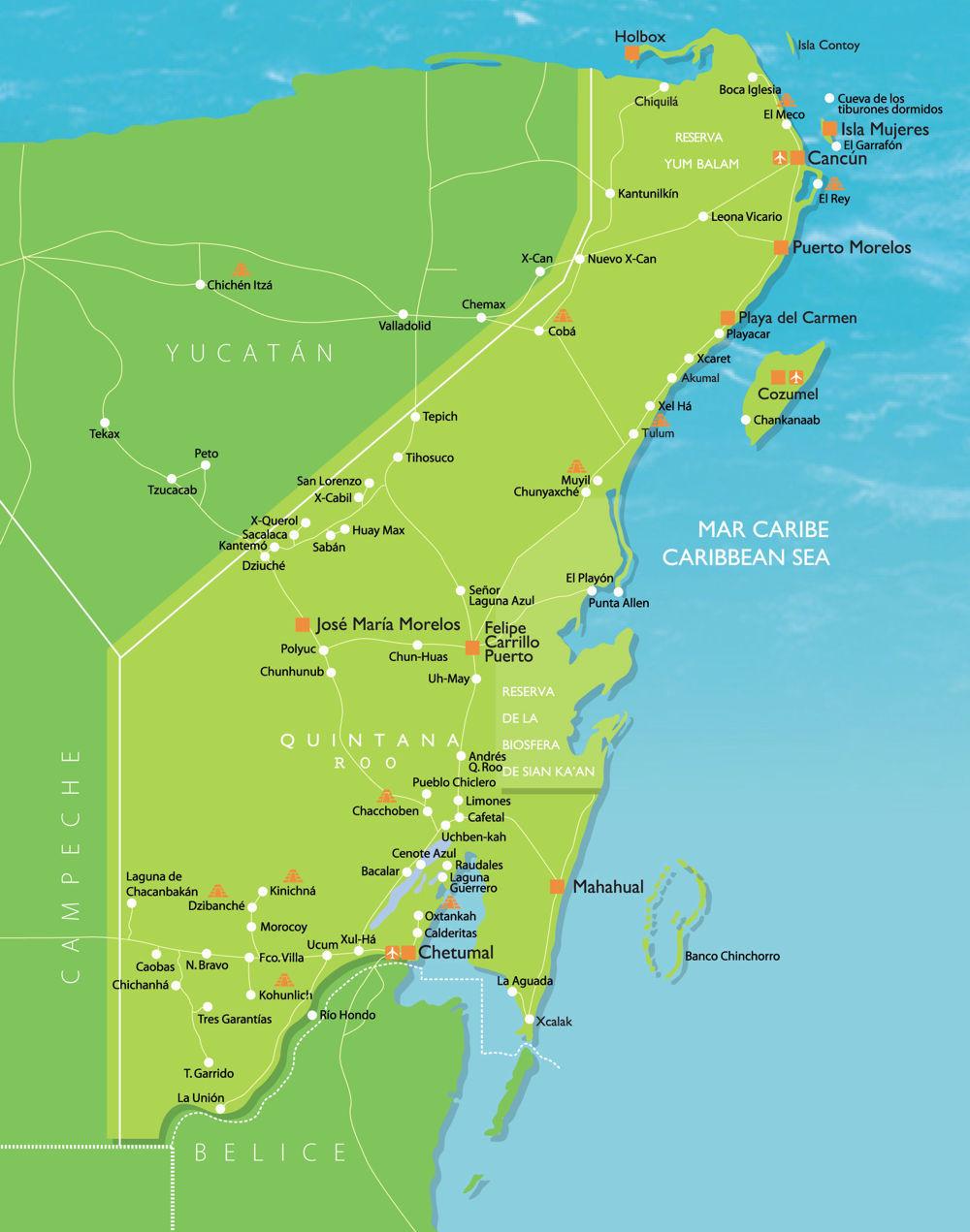 Map of Quintana Roo Mexico