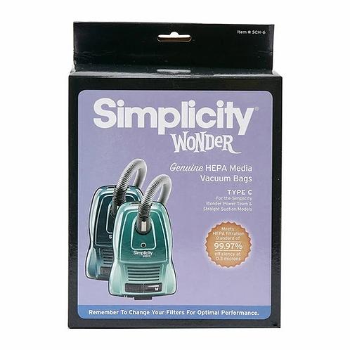 Wonder HEPA Media Type C Vacuum Bags (pack of 6) SCH-6