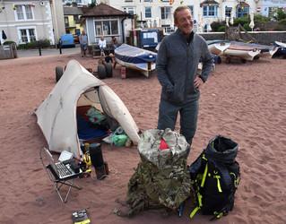 Aaron Mackie decamping at Shaldon for 12,000 mile coastal walk