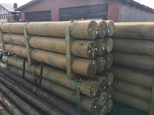 Trykimprægneret Runde stolper 8-14cm