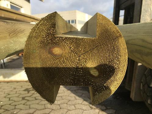 Profilerede Stolper i Egetræ - Runde 14 x 300cm