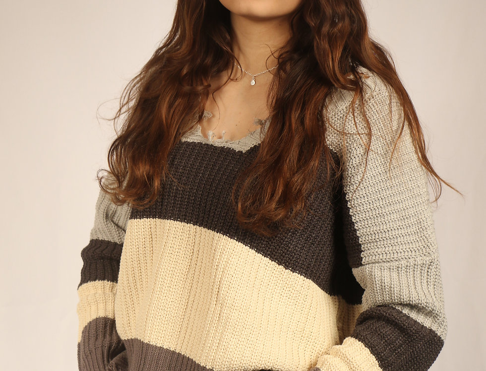 Gray Color Block Distressed Sweater