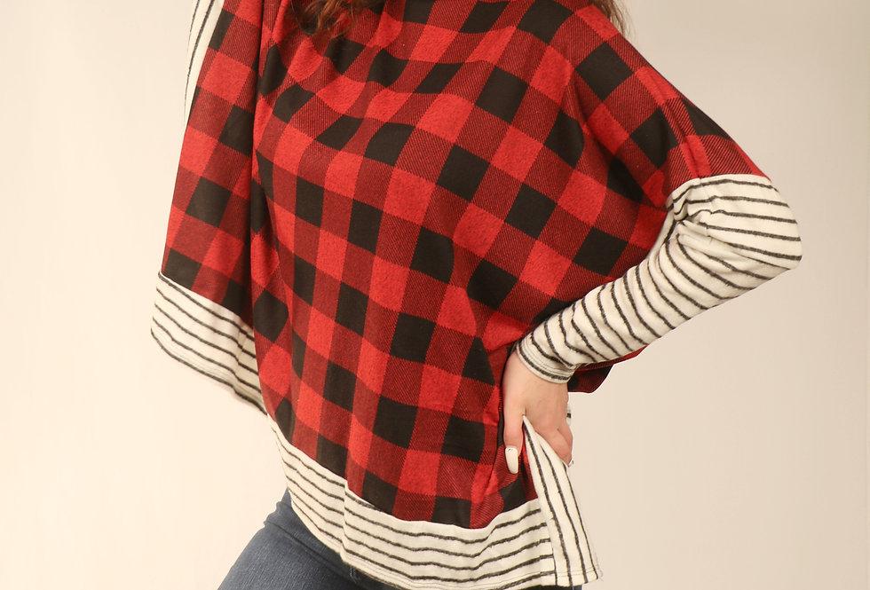 Red Black & Ivory Plaid Stripe Poncho Style Blouse