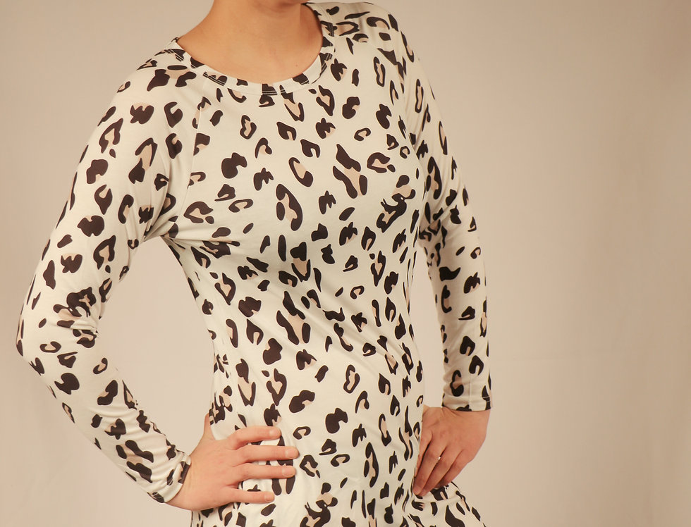 Leopard Long Sleeve Pocketed Mini Dress