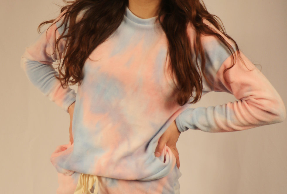 Top and Shorts Tie Dye Set- Light Blue/Pink