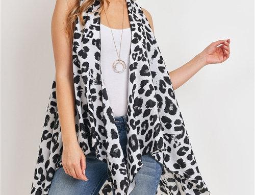 Open Front Leopard Print Kimono Vest