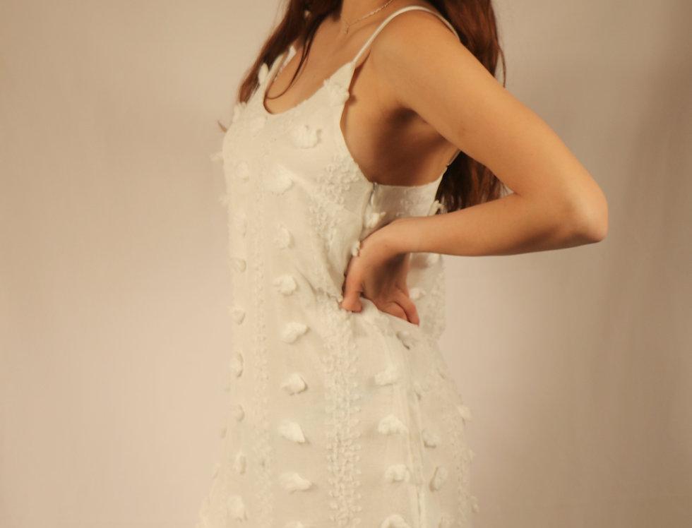 White Spaghetti Straps Jacquard Ruffle Mini Dress