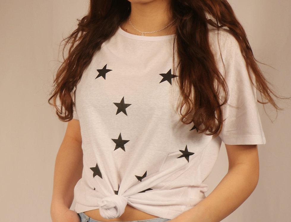 White Star Print Short Sleeve T-shirt