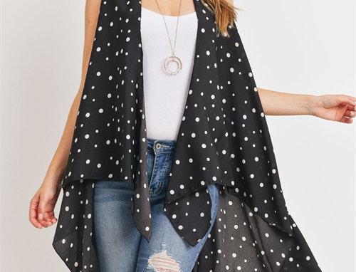 Black Polka Dots Kimono Vest