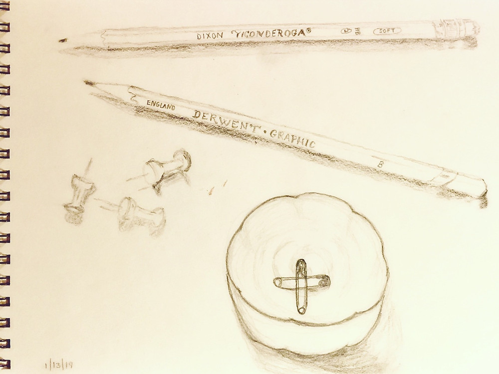 Sketch of office supplies