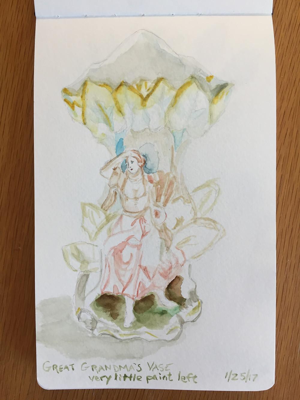 watercolor, vase