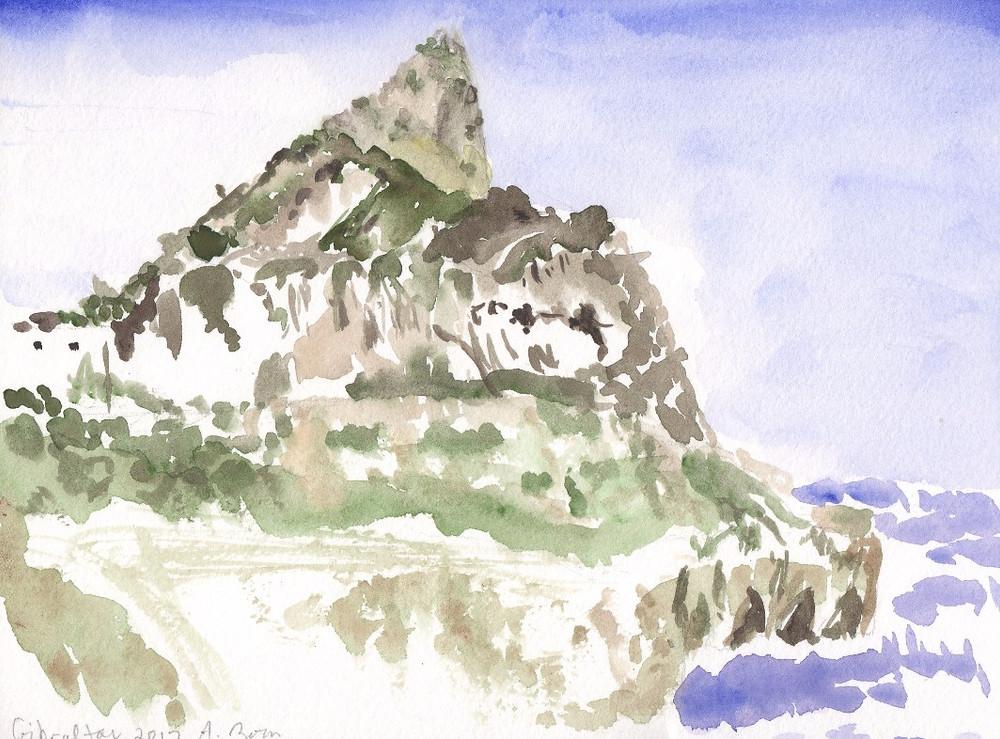 Gibraltar in watercolor
