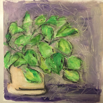 philodendron on panel