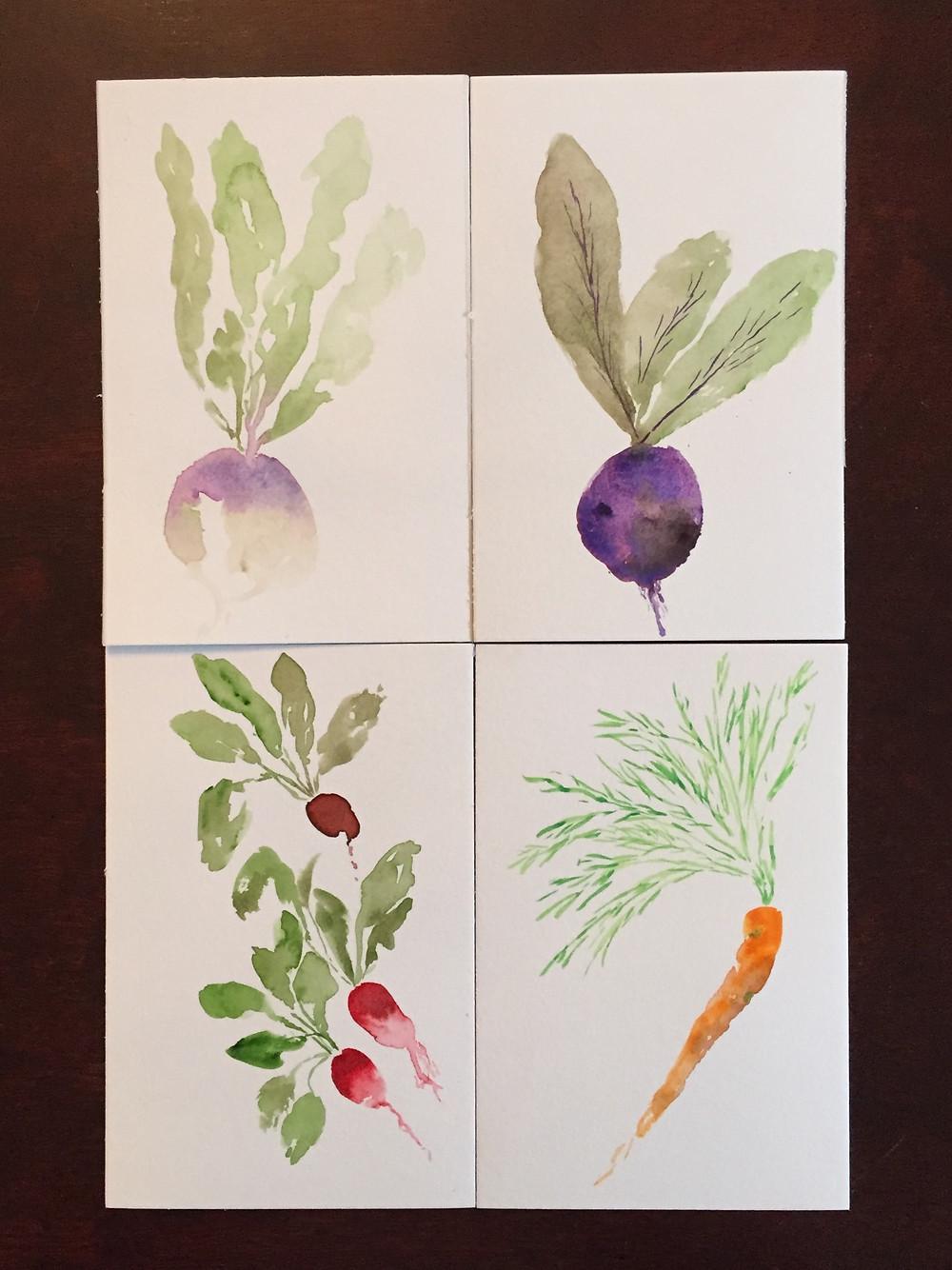 watercolor root vegetables