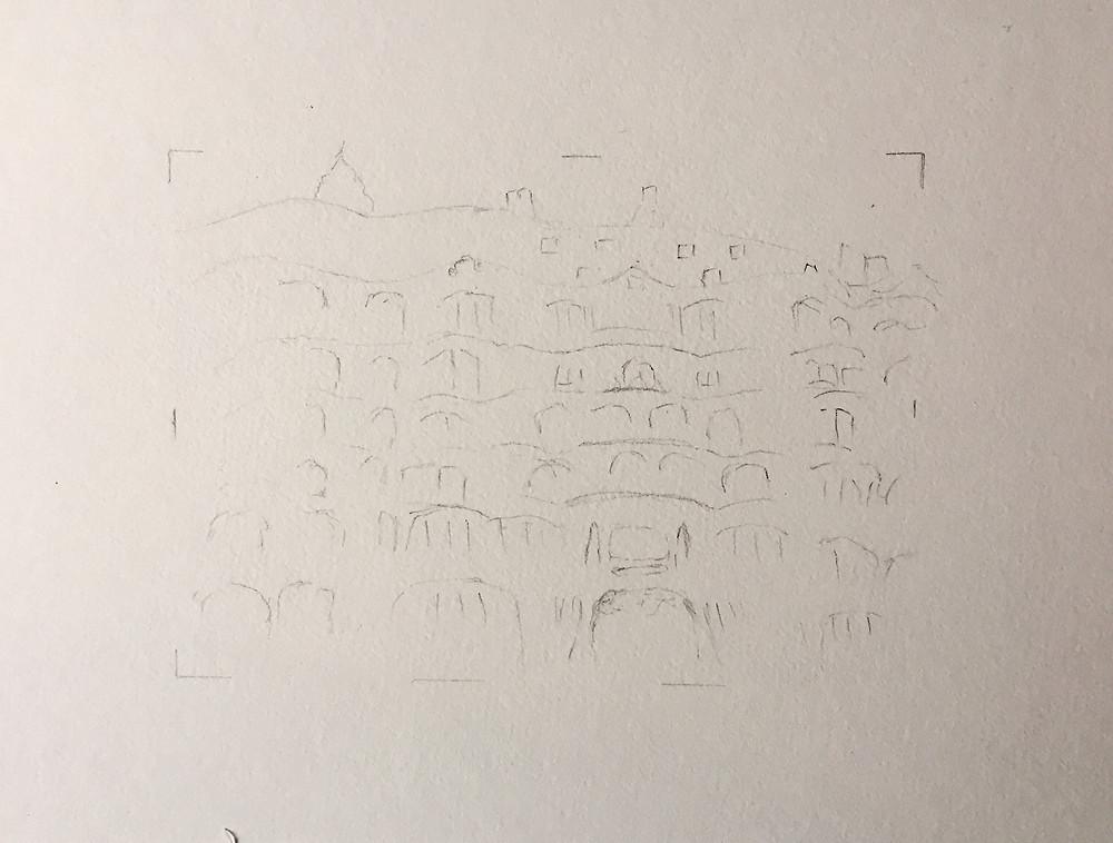 La Pedrera, preliminary sketch