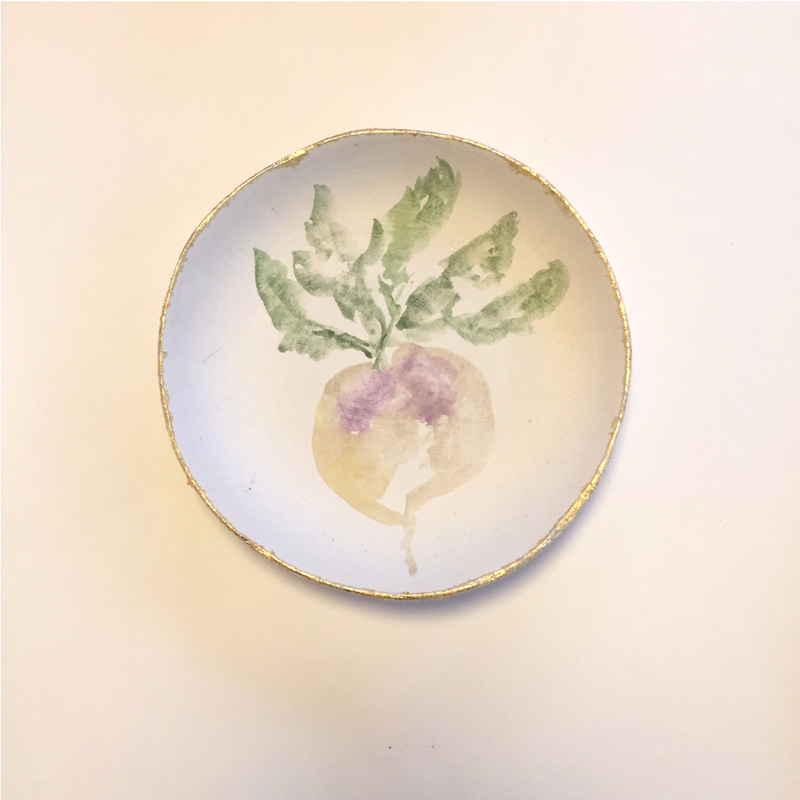 turnip design shallow bowl