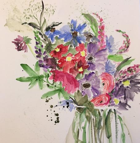 Summer flowers/glass vase
