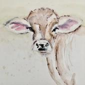 cow watercolor
