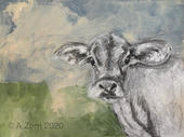Cow in acrylic and charcoal