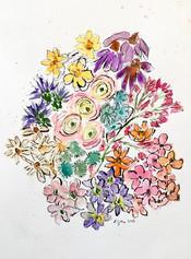 Watercolor Flowers with Gel Pen