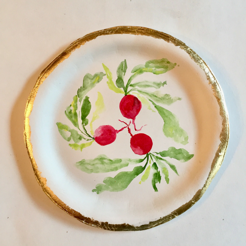 Paper Clay Radish Plate with Gold Leaf