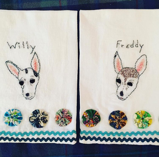 Hand embroidered Chihuahua kitchen towels