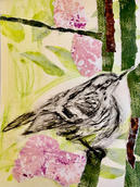 Bird with collage flowers